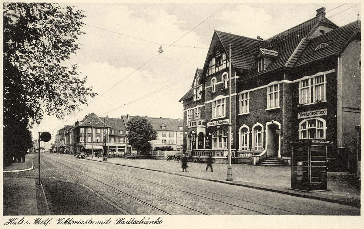 Marl. Hüls - Viktoriastraße mit Stadtschänke, 1935